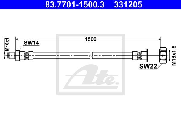 Anschlussschlauch, Bremsdruckprüfgerät