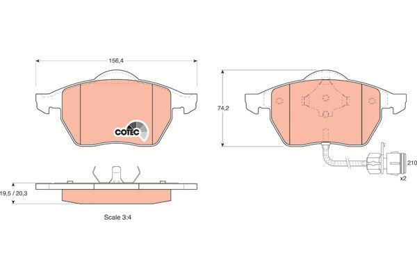 Bremsbelagsatz, Scheibenbremse COTEC - GDB1049