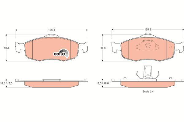 Bremsbelagsatz, Scheibenbremse COTEC - GDB1107