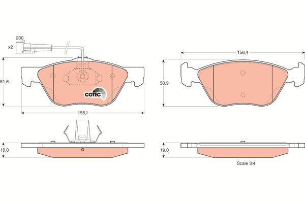 Bremsbelagsatz, Scheibenbremse COTEC - GDB1212