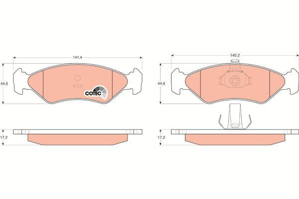 Bremsbelagsatz, Scheibenbremse COTEC - GDB1221