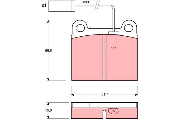 Bremsbelagsatz, Scheibenbremse - GDB1252