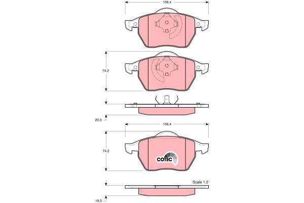 Bremsbelagsatz, Scheibenbremse COTEC - GDB1275