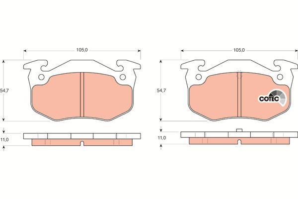 Bremsbelagsatz, Scheibenbremse COTEC - GDB1305