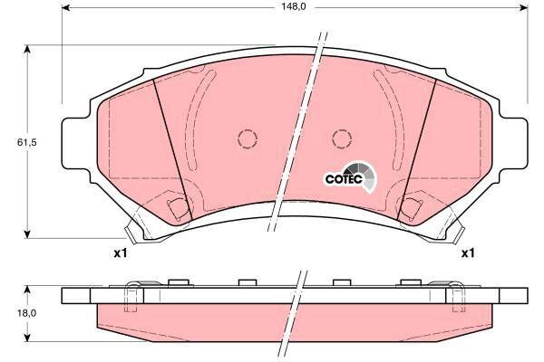 Bremsbelagsatz, Scheibenbremse COTEC - GDB1308